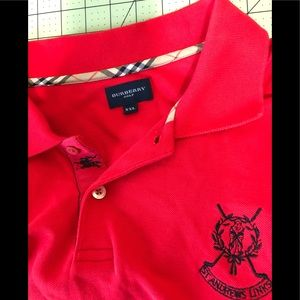Burberry designer red golf polo shirt XXL